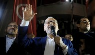 Ennahda movement leader Rachid Ghannouchi addresses supporters